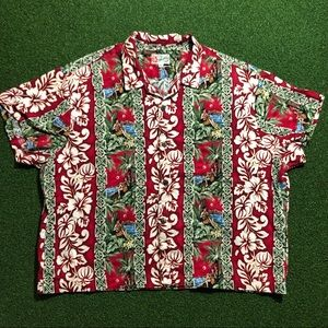 Vtg Hilo Hattie Hawaiian Shirt Red Flowers